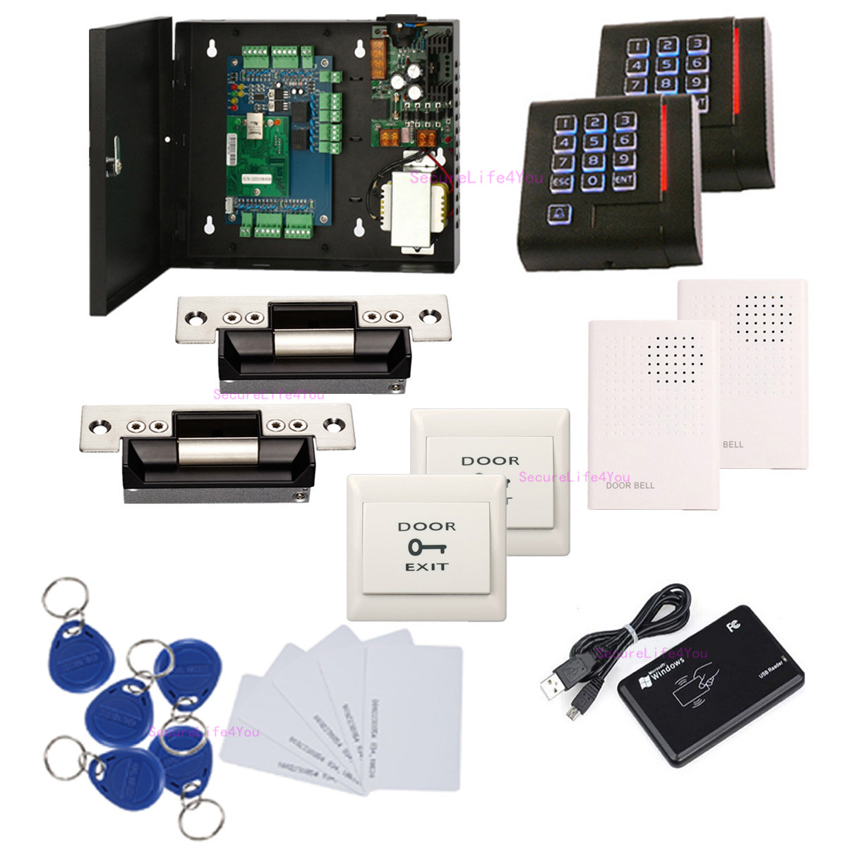 2 doors access control system kit ansi strike lock 110v power box2 doors access control panel steel power supply box( psu, 110v~240v) keypad reader exit button wired doorbell heavy duty electric door strike lock rfid