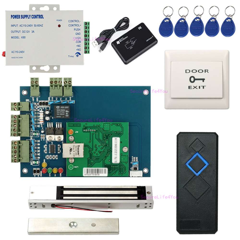 Wiegand 1 Door Rfid Access Control Systems Kit Electronmagnetic Lock Based System Using 8051 Electronic Circuits Single Board Power Supply Unit110v240v Waterproof Reader Exit Buttons Magnetic Keyfobs Enroll Usb