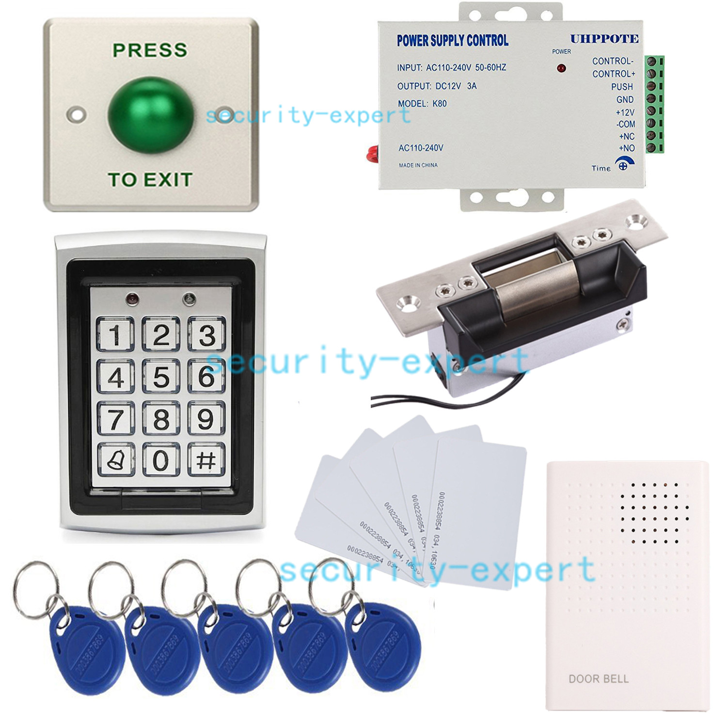 Details about Full Complete 125kHz Door Metal ID Access Control Kit Keypad  & ANSI Strike Lock