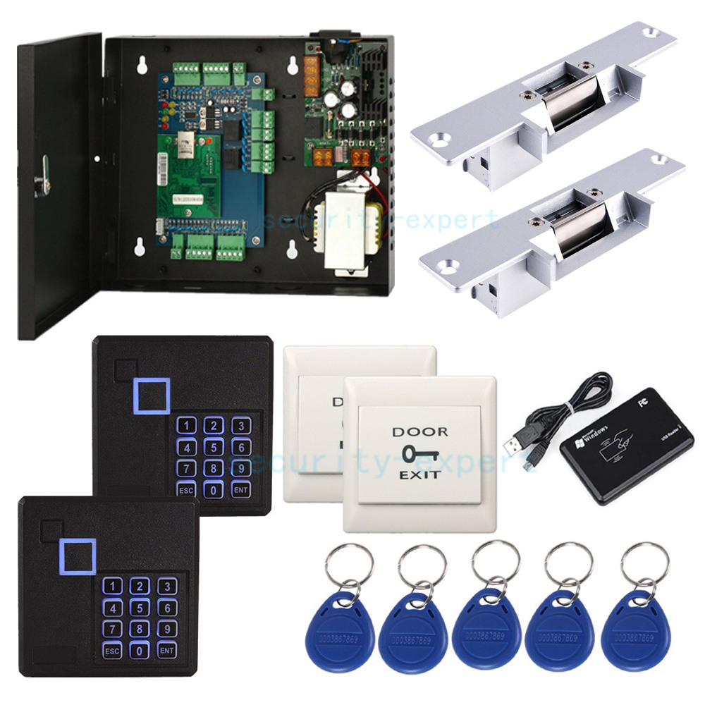Details about 2 Doors TCP/IP Network Access Control Kit Panel Controller  Keypad Reader Power