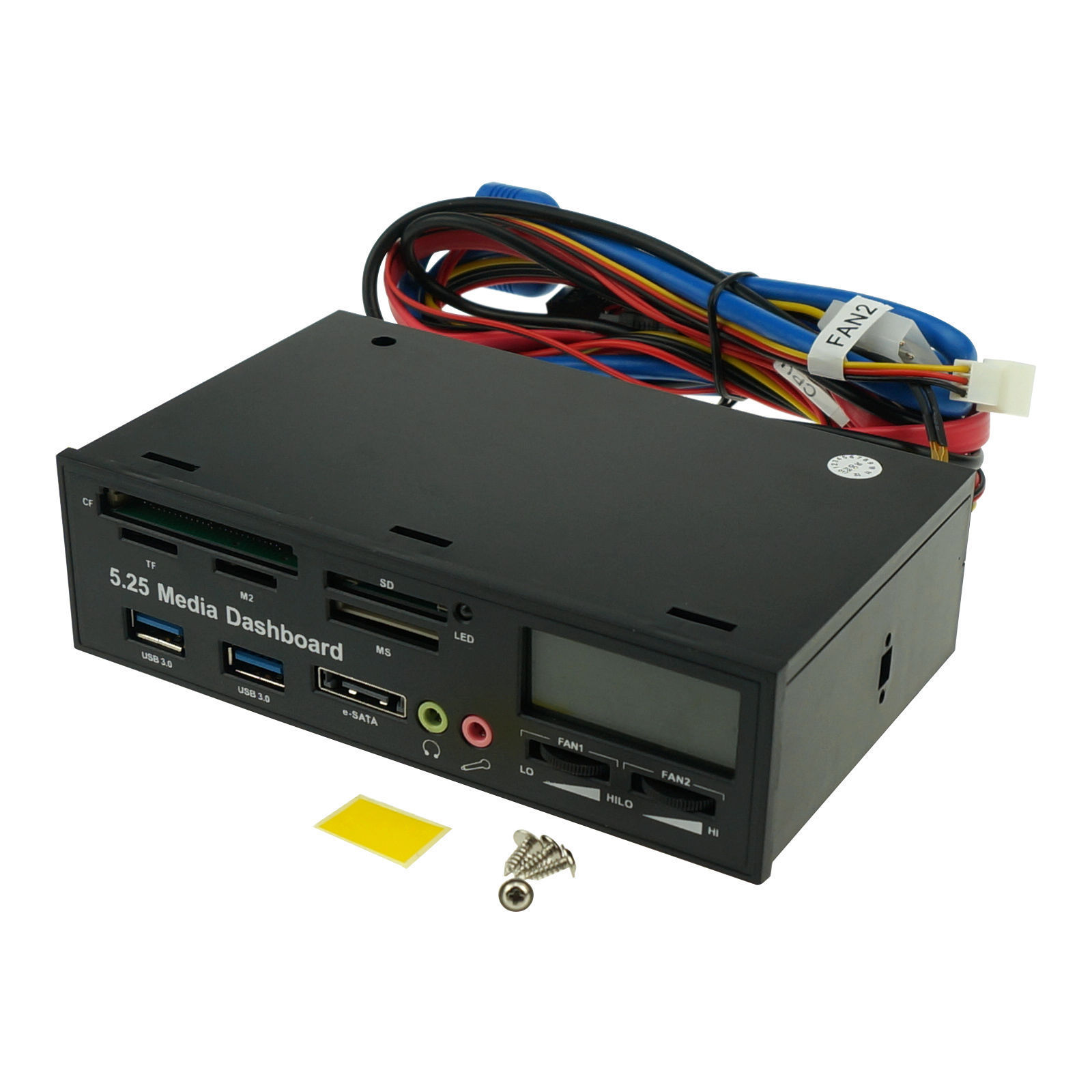 Details about 5 25'' Desktop PC Front Panel Media Dashboard Fan Control  Card Reader USB 3 0