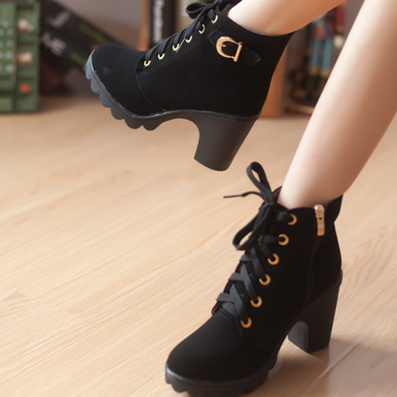 Women's Lace-up Chunky Heels Winter Ankle Boots