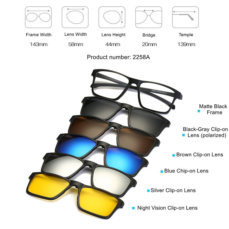 fcb992b700 Details about 5 Pack Sunglasses Magnetic Clip-on Lens + 1 Pc Sport Outdoor Rx  Eyeglass Frames