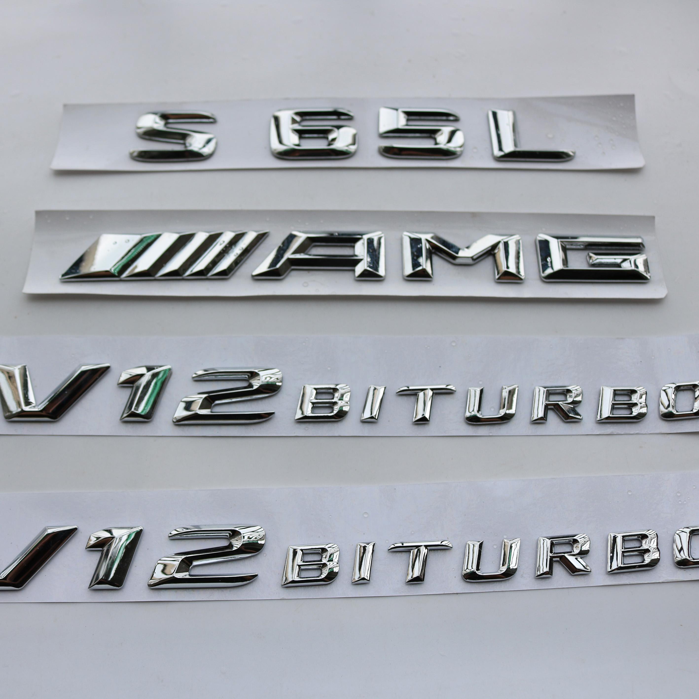 2018 Flat S65 Chrome Letters Trunk Emblem Badge Sticker for Mercedes Benz S65