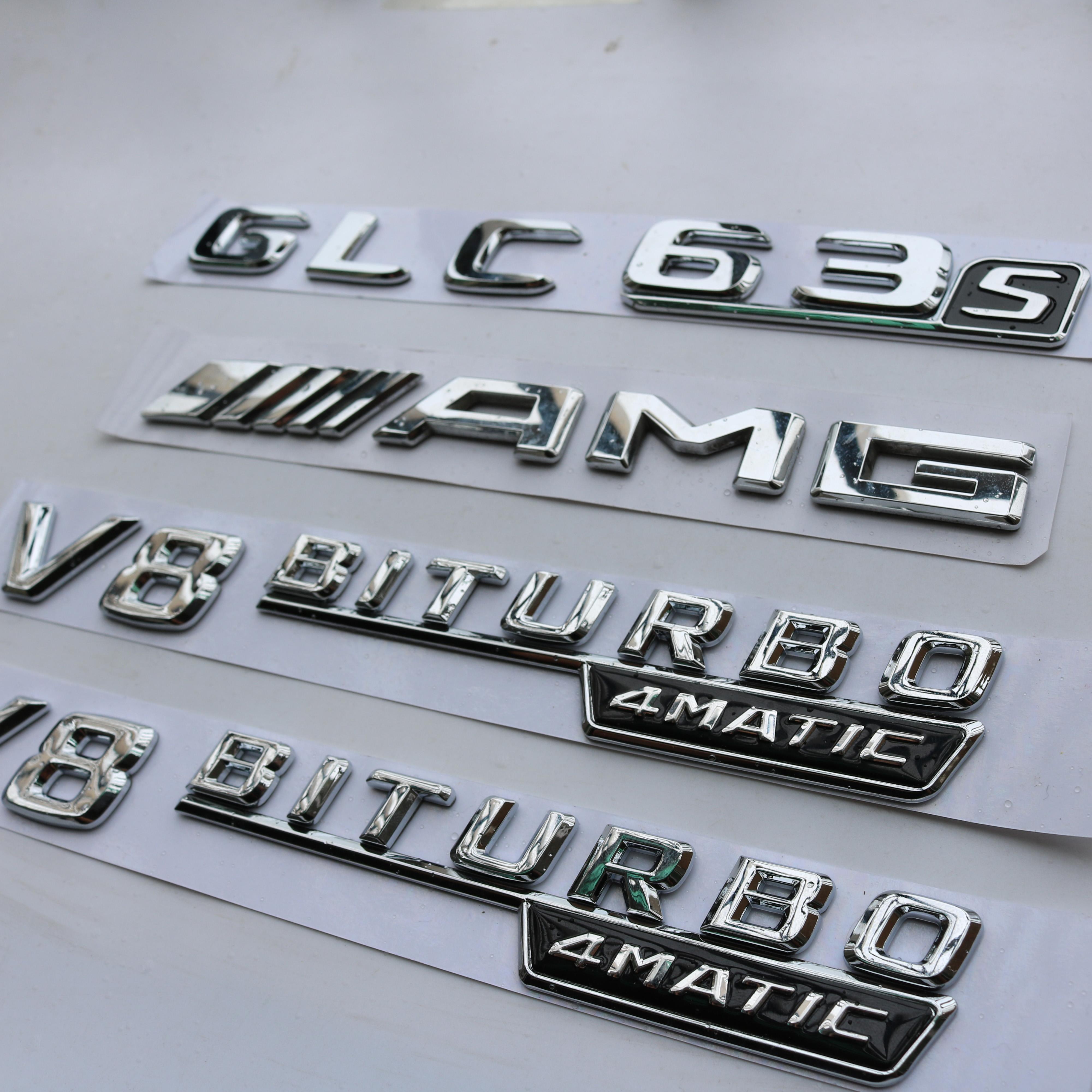 """AMG /""""GLC 63s V8 BITURBO/"""" Letters Trunk Embl Badge Sticker for Mercedes Benz"""