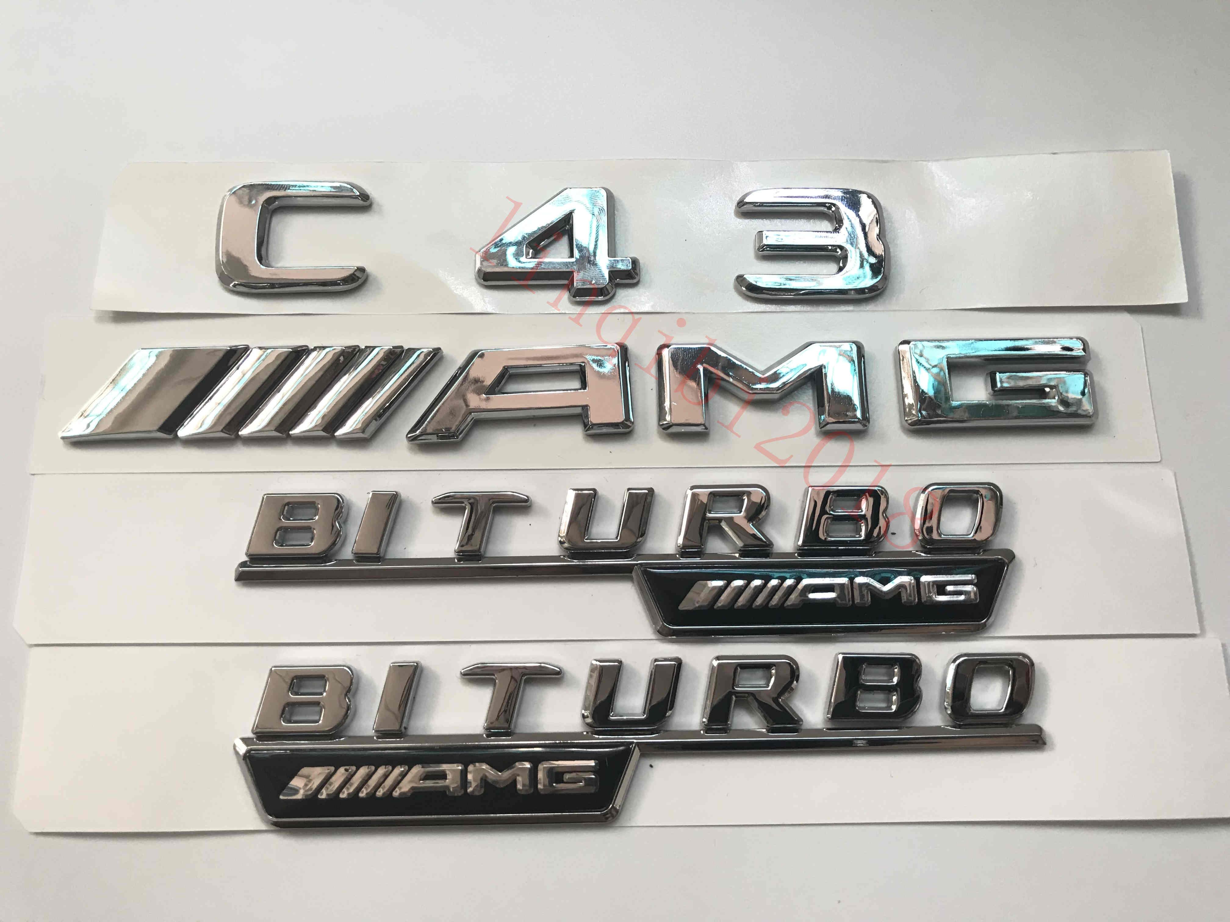 """Flat /""""  SL55 AMG V8 BITURBO /"""" Letters Trunk Embl Badge Sticker for Mercedes Benz"""