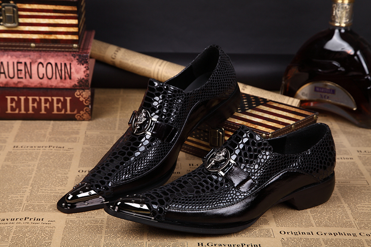 Details about Mens Metal Tip Real Leather Business pointed Toe slip on Dress  Formal Shoes Size ecf6d9028e77