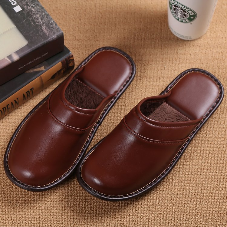 Winter Home Slippers Mens Leather Close Toe Furry Lining Slip On Flats Bedroom Ebay