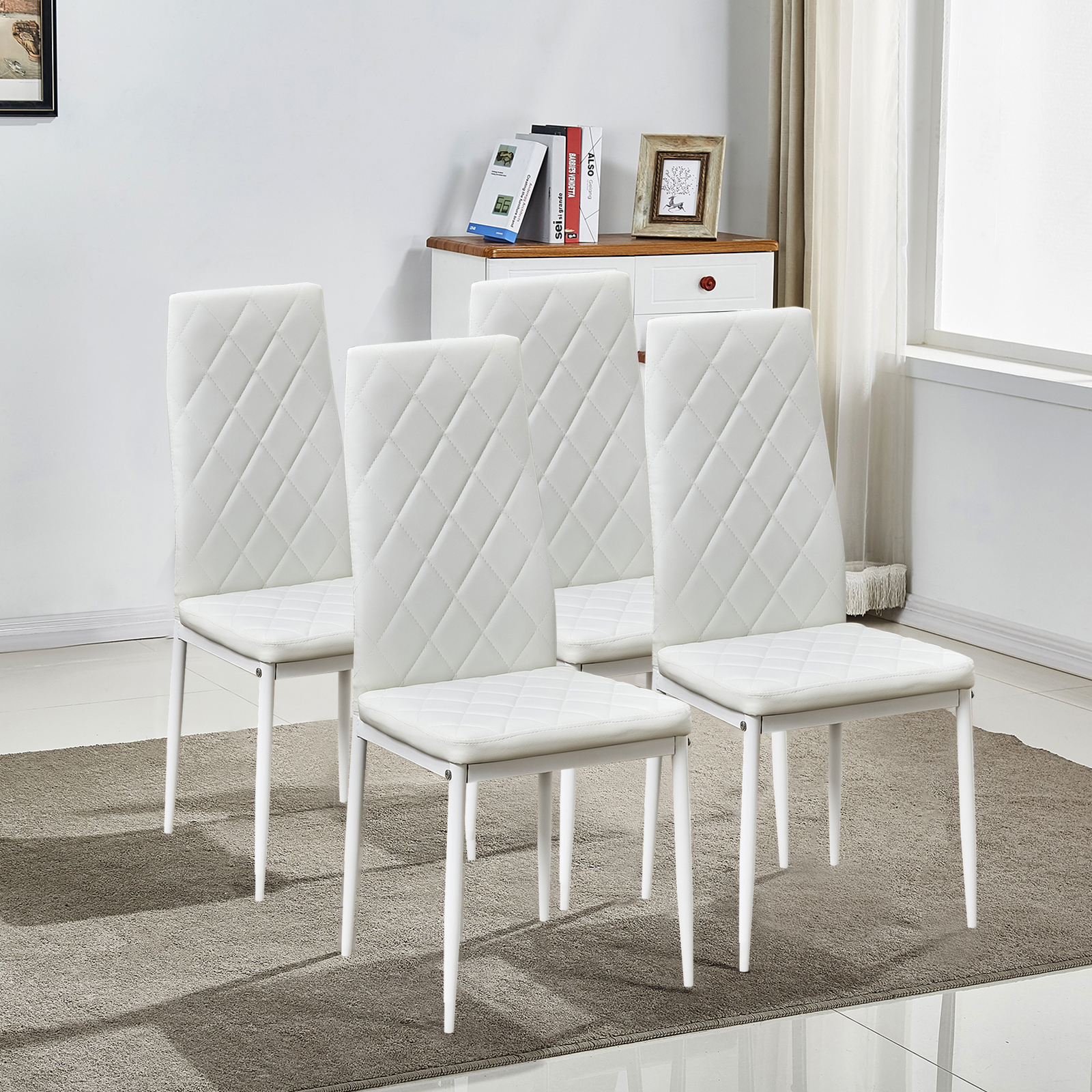 White Leather Dining Room Set: Set Of 4 White Stunning Dining Chairs Comfortable Leather