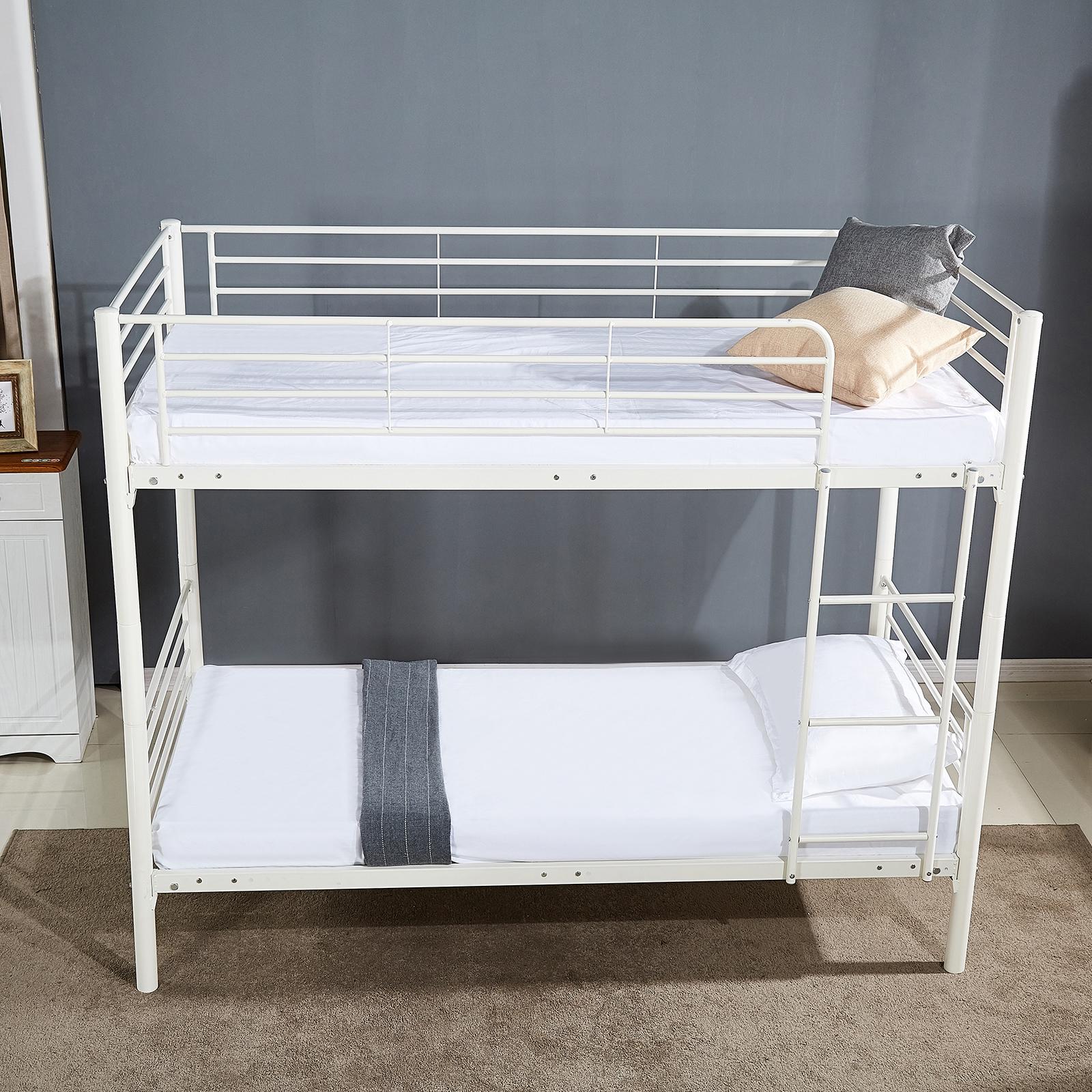 Metal Twin Over Twin Size Bunk Bed Frame Platform Ladder