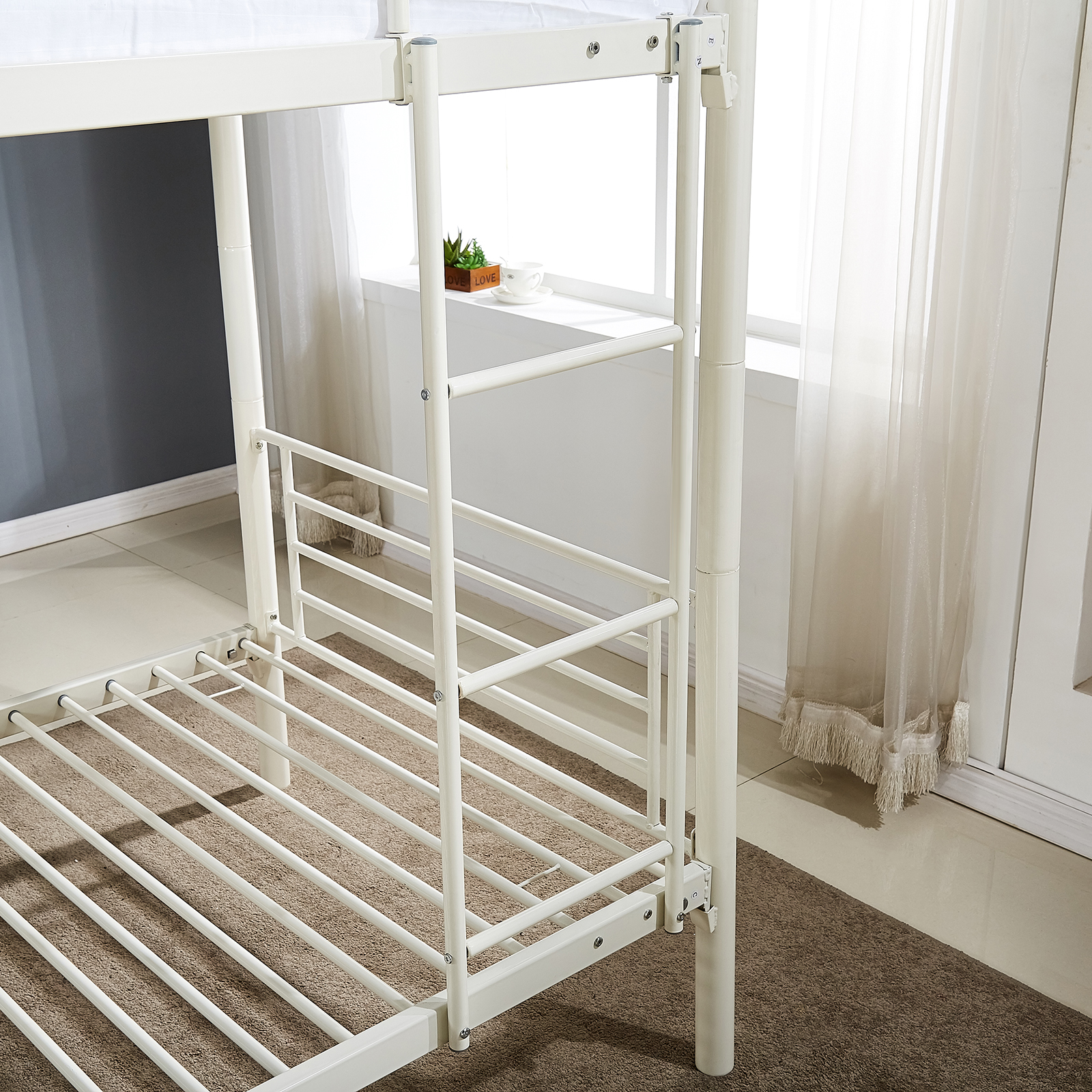 metal twin over twin size bunk bed frame platform ladder kids adult dorm bedroom 711639632608 ebay. Black Bedroom Furniture Sets. Home Design Ideas