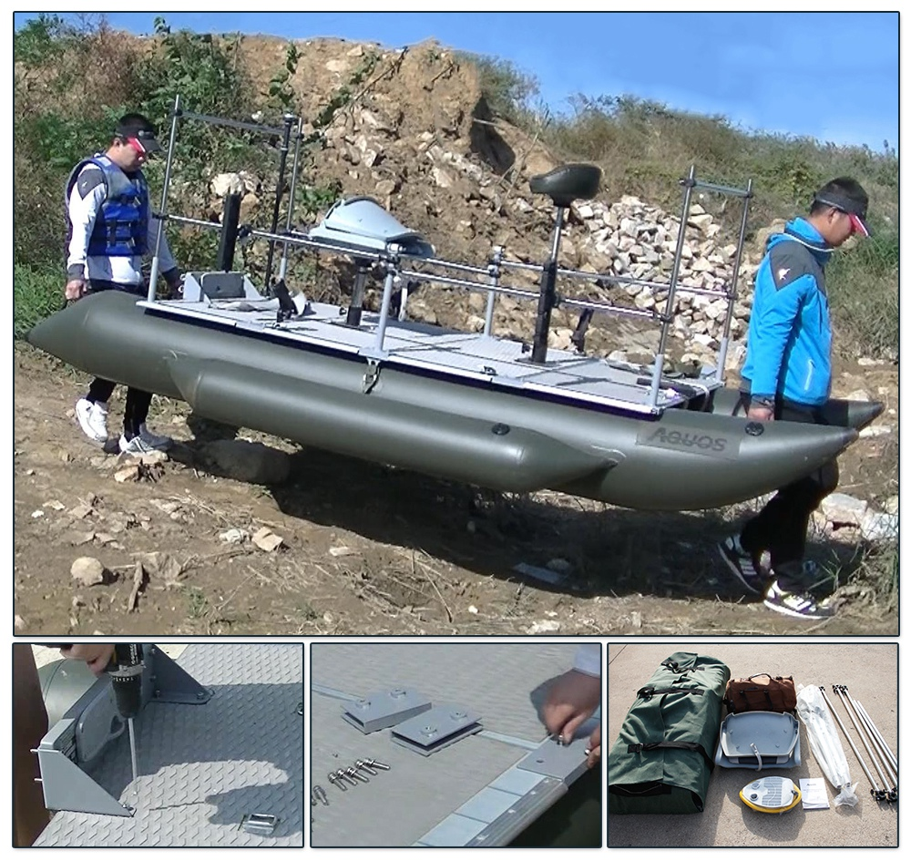 Aquos 12 5 39 green pvc inflatable pontoon boat for for Green boat and motor