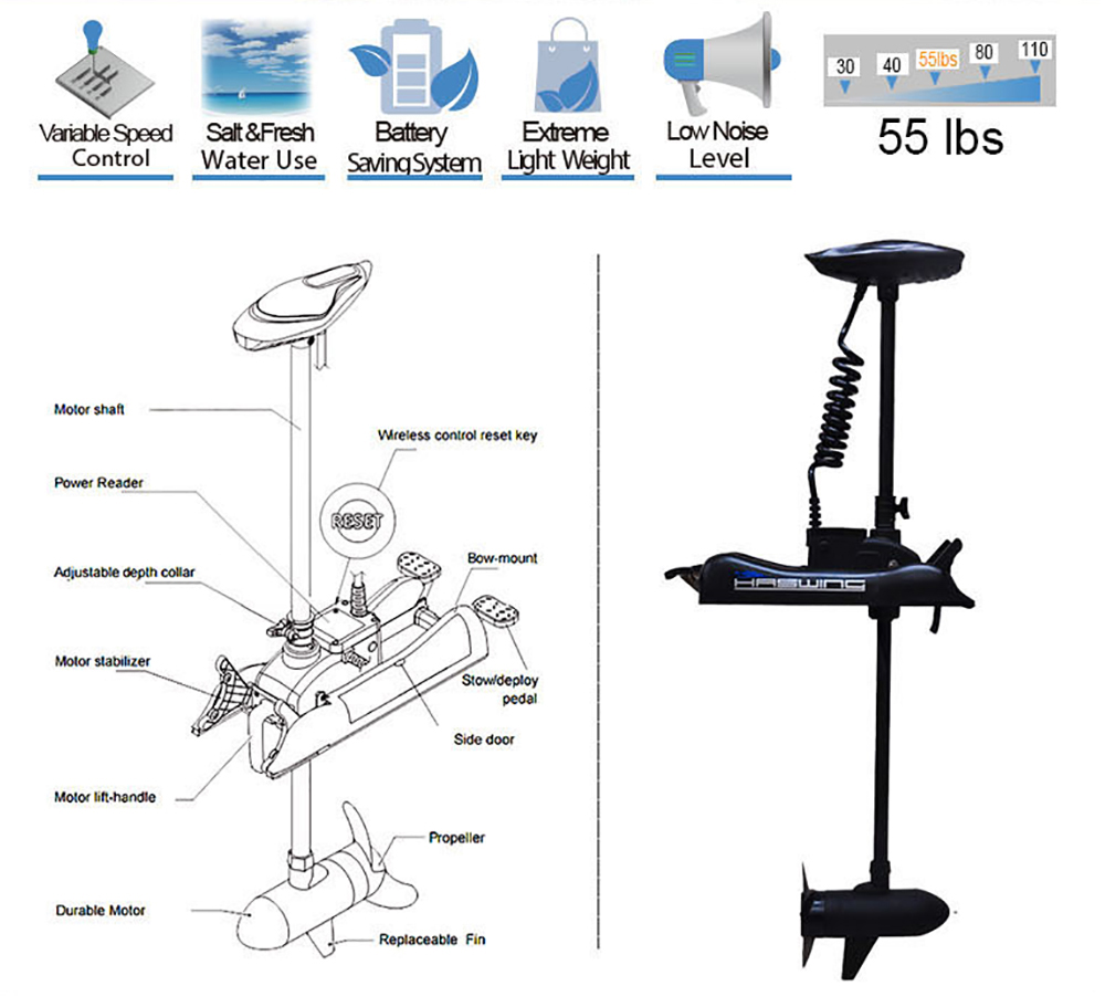 Black haswing 12v 55lbs 48 bow mount electric trolling for Foot operated trolling motor
