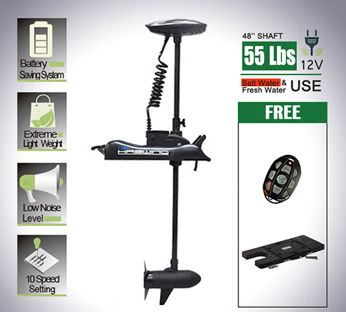 Haswing black 12v 55lbs 48 bow mount electric trolling for 12 volt saltwater trolling motor