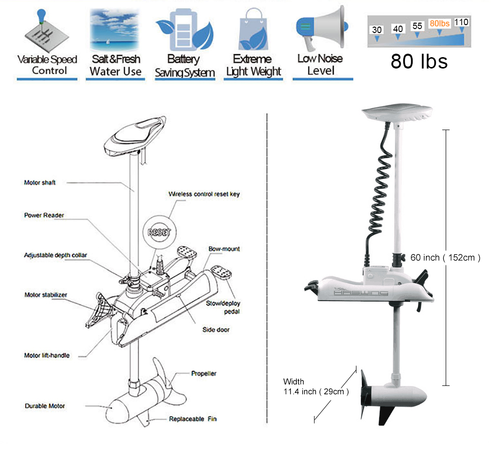 White Haswing 24v 80lbs 60 Bow Mount Electric Trolling