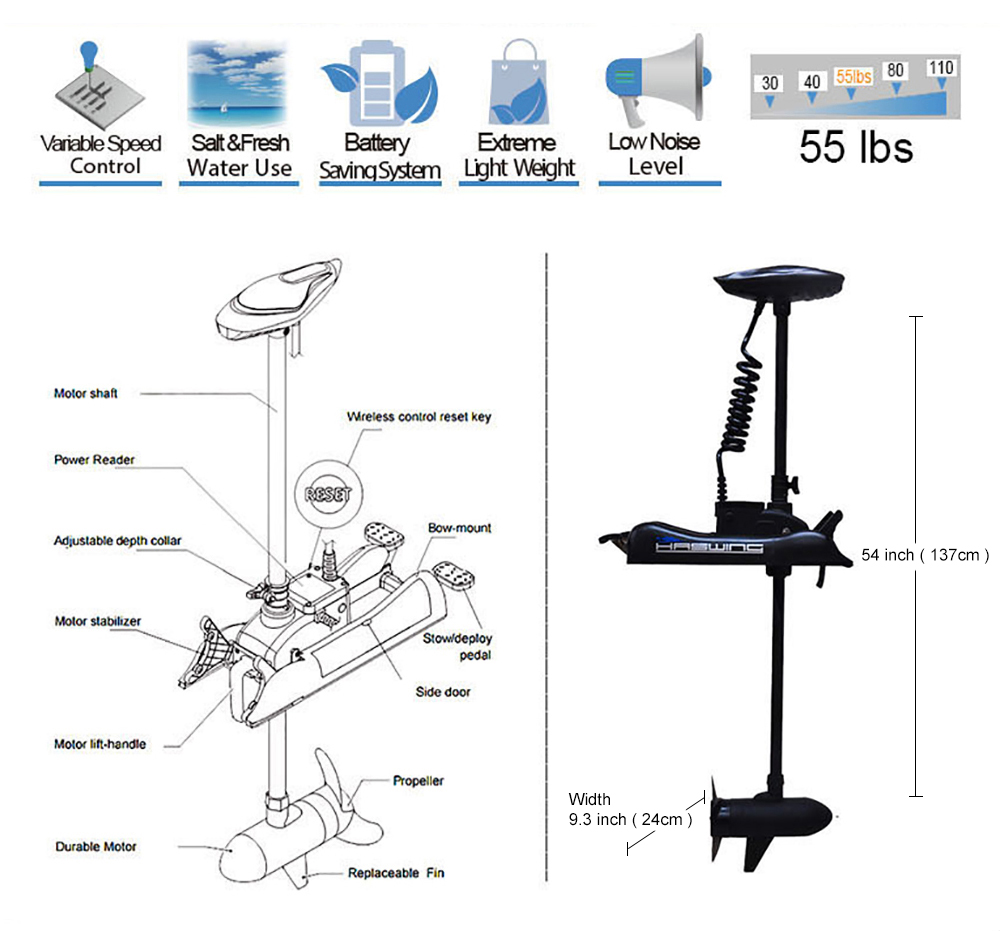 Black haswing 12v 55lbs 54 shaft bow mount electric for 12 volt saltwater trolling motor