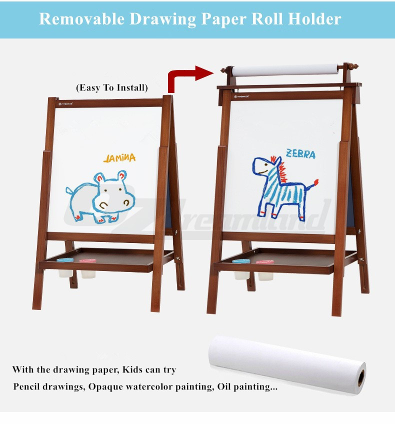 childrens kids foldable wood easel art painting magnetic chalk board