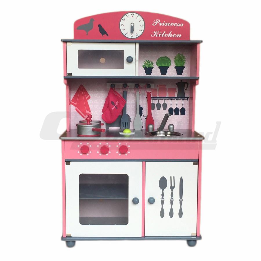 Kids Pretend Play Toy Wooden Princess Kitchen Set With
