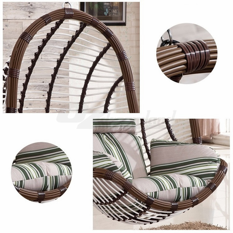 PE Rattan Wicker Hanging Swing Pod Egg Chair with Stand ...