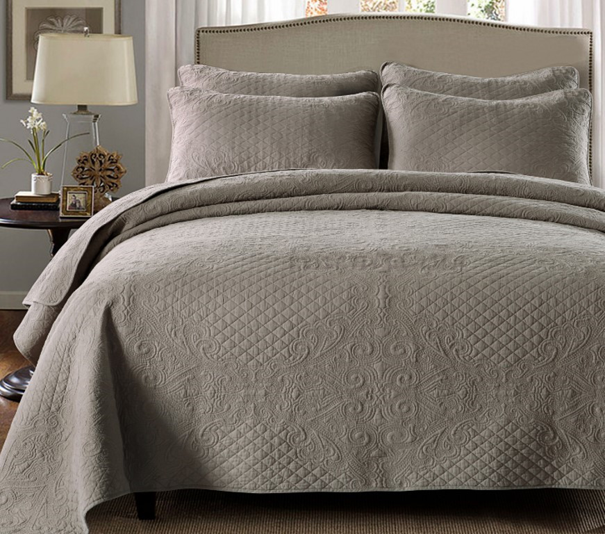 Quilted Cotton Coverlet Bedspread 3pc Set King Super King