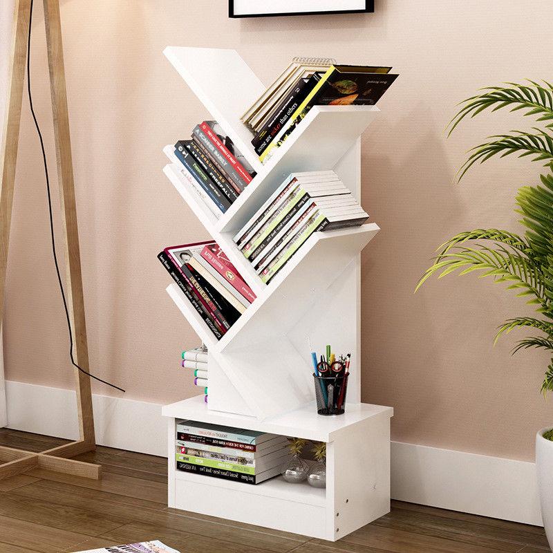 5 7 9 Shelf Tree Bookshelf Compact Book Rack Bookcase Display Ebay