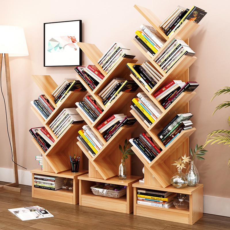 bookshelf shelf bookcase tree display rack compact floor cabinet study creative storage wooden lattice shape bookcases stand shaped description stylish