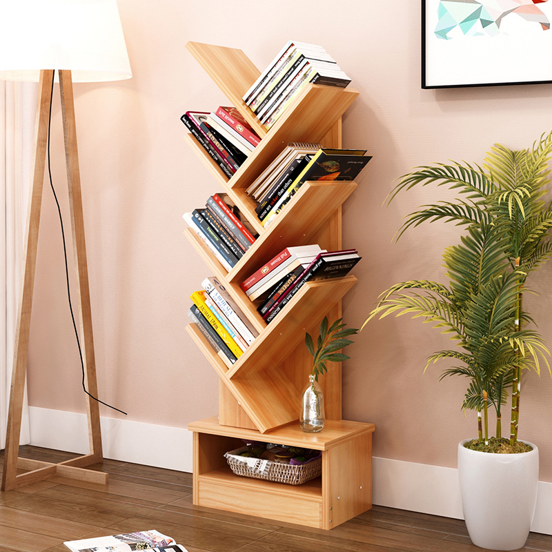 5/7/9-Shelf Tree Bookshelf Compact Book Rack Bookcase