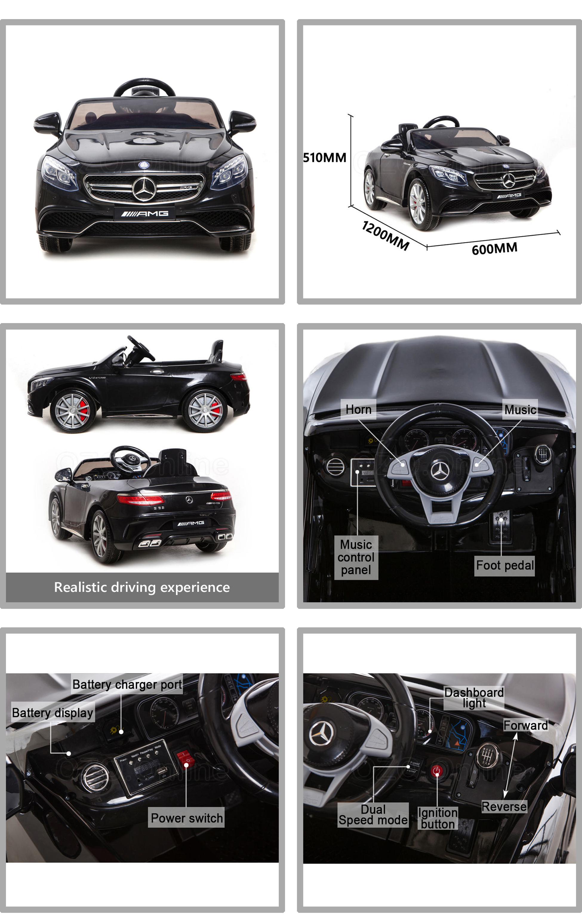 Licensed Mercedes Benz AMG S63 Electric Kids Ride Car 2 speed