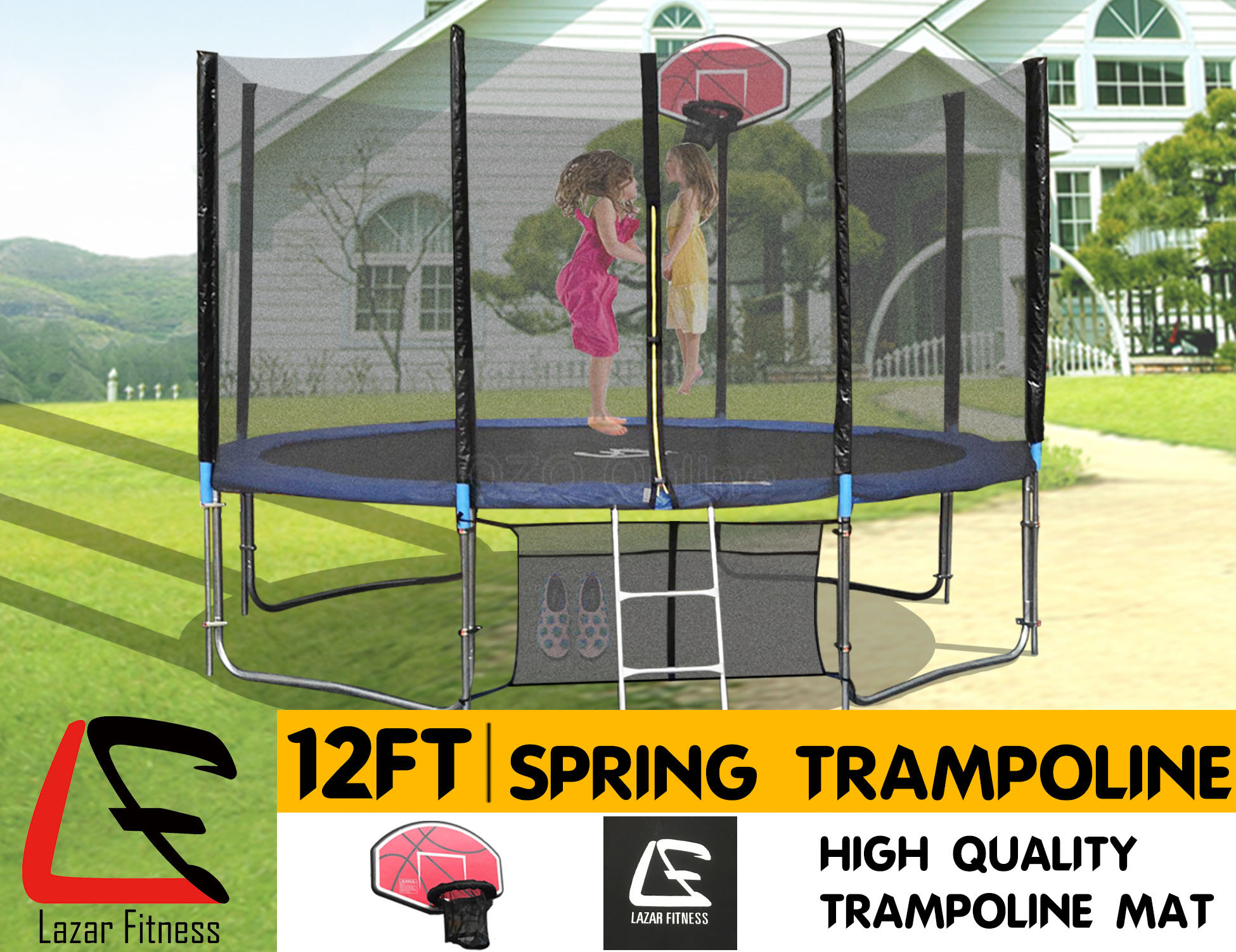 254 Lazar Finess 12ft Trampoline Basketball Set Safety