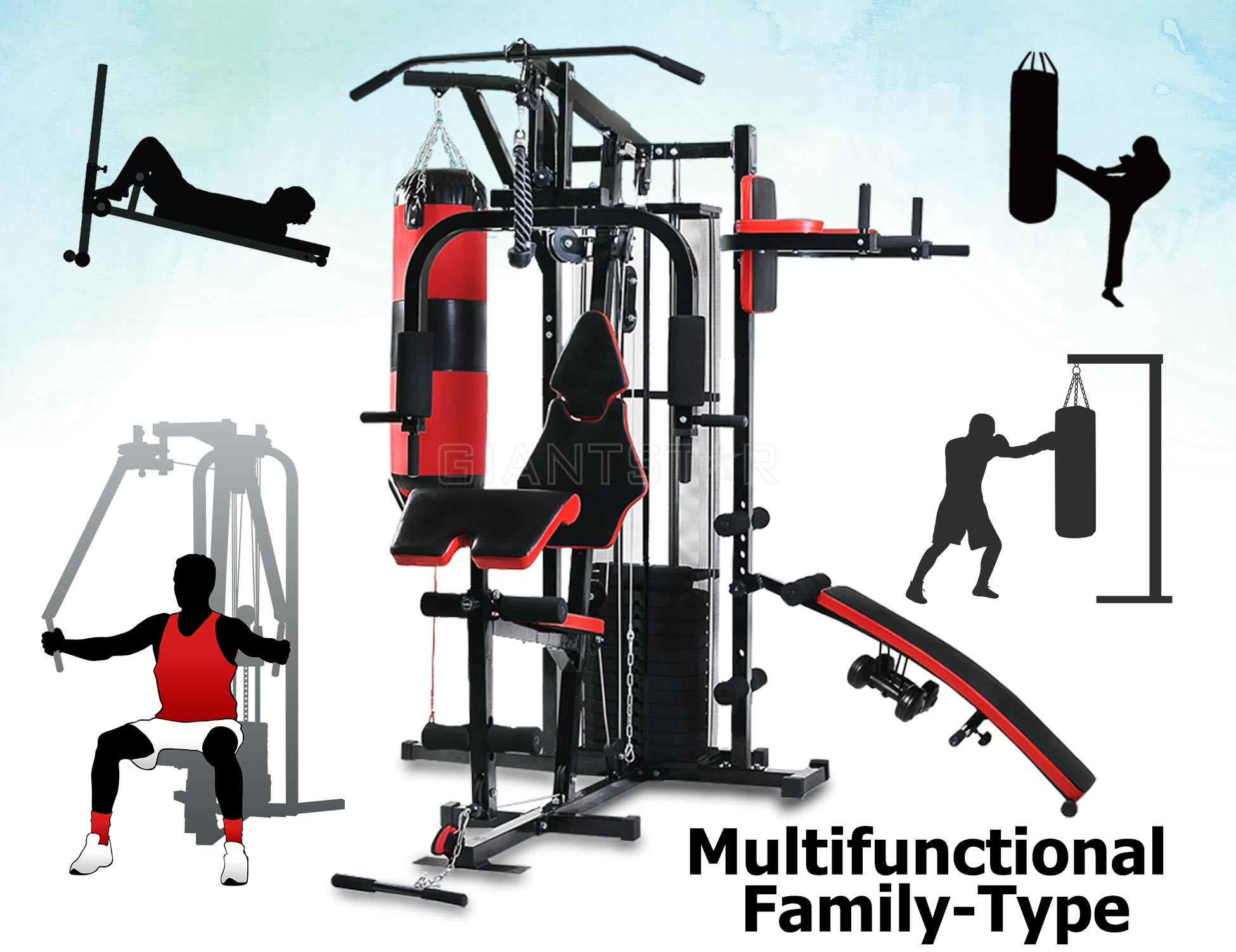 Multi functional home gym station exercise bench boxing