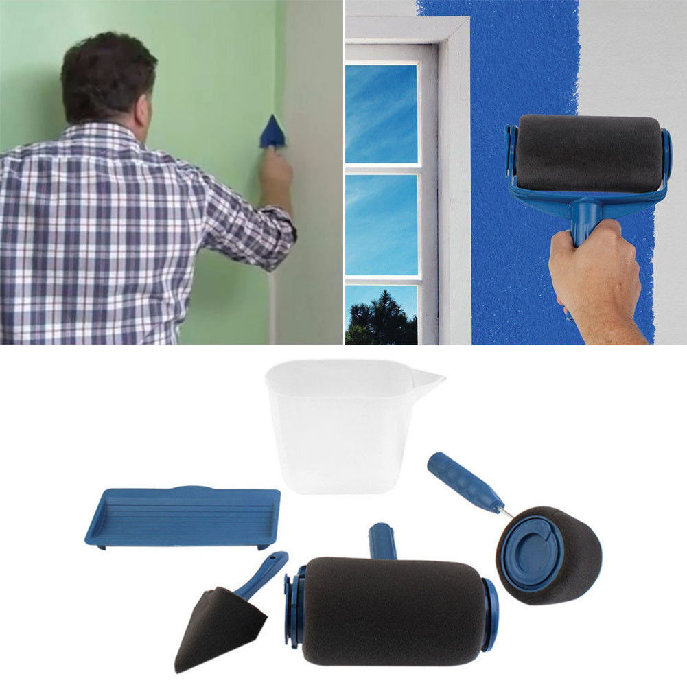 5pcs set pro paint roller runner rouleau de peinture avec reservoir kit peinture ebay. Black Bedroom Furniture Sets. Home Design Ideas