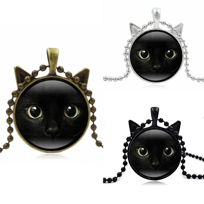 Lange Kette Halskette Cabochon Glas Steampunk Katze Katzengesicht Anhänger