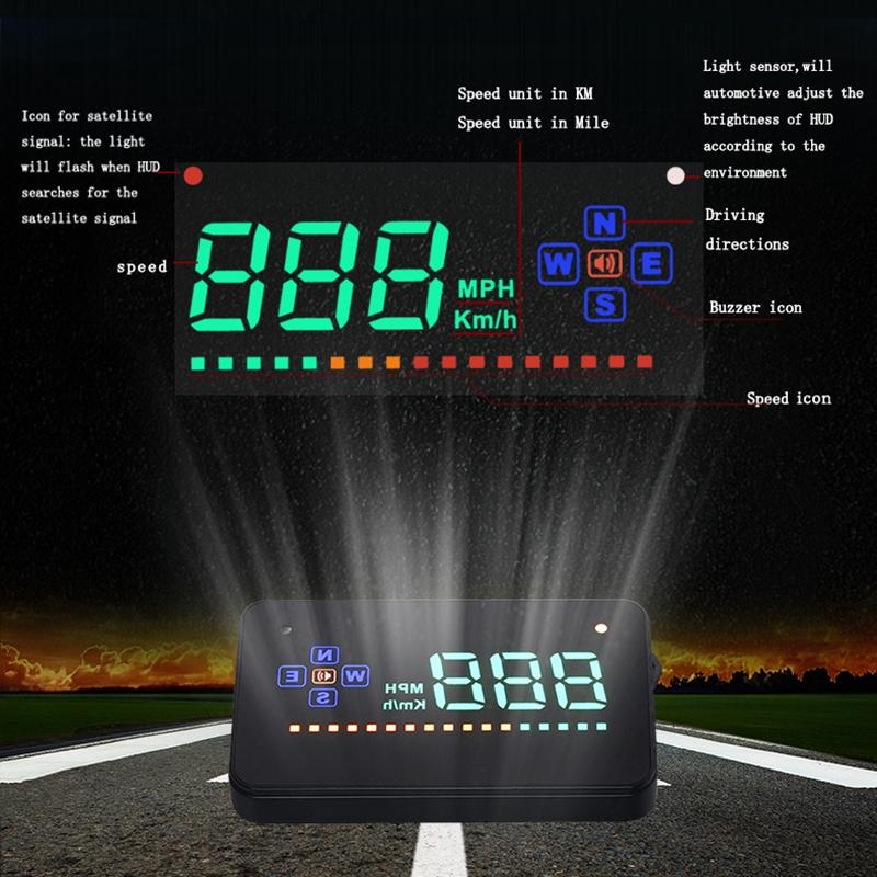 d tecteur de vitesse de gps d 39 affichage la t te de hud de voiture automatique ebay. Black Bedroom Furniture Sets. Home Design Ideas