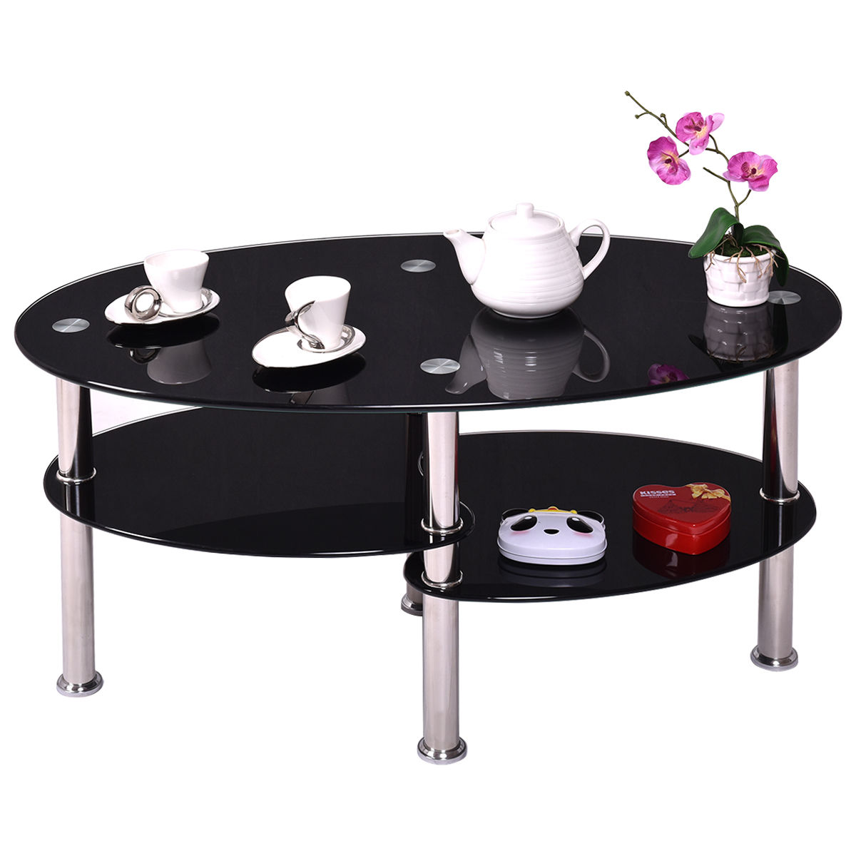 Coffee side tea table glass oval 3 shelf design black - Glass side tables for living room uk ...