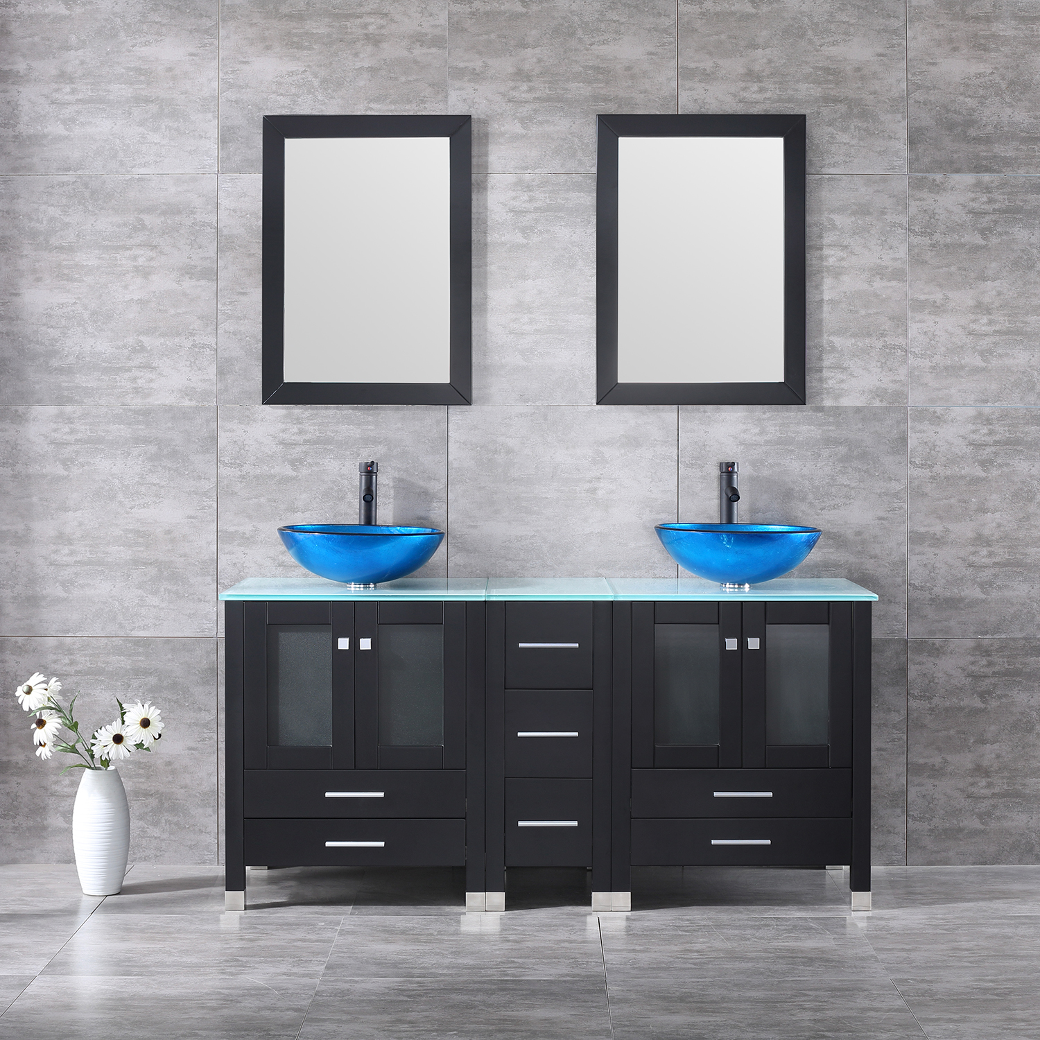 60inch Bathroom Vanity Cabinet Tempered Glass Vessel Sink Faucet