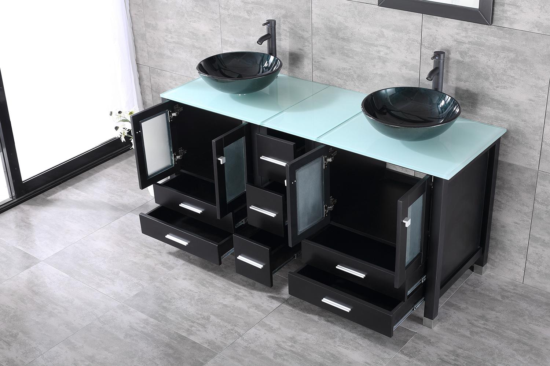 """Black Vanity Cabinet Vessel Sink: 60"""" Black Bathroom Vanity Cabinet Top Glass Vessel Sink W"""