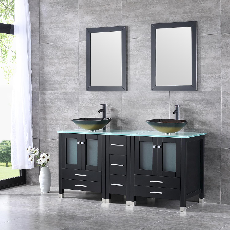 60 double bathroom wood cabinet vanity w mirror faucet - Bathroom vanity and mirror combo ...