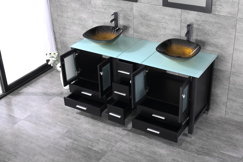 60 Quot Double Bathroom Vanity Wood Cabinet W Mirror Faucet