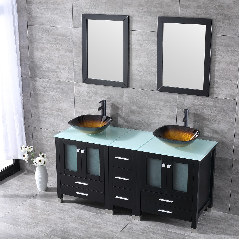 60 Quot Double Bathroom Wood Cabinet Vanity W Mirror Faucet
