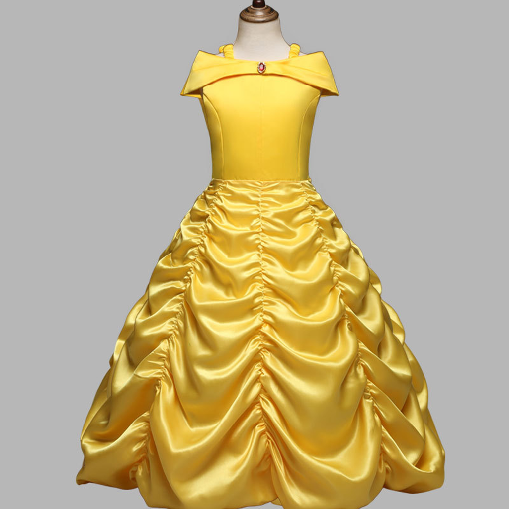 Princess Belle Yellow Off Shoulder Layered Costume Dress Kids Girl Cosplay Party
