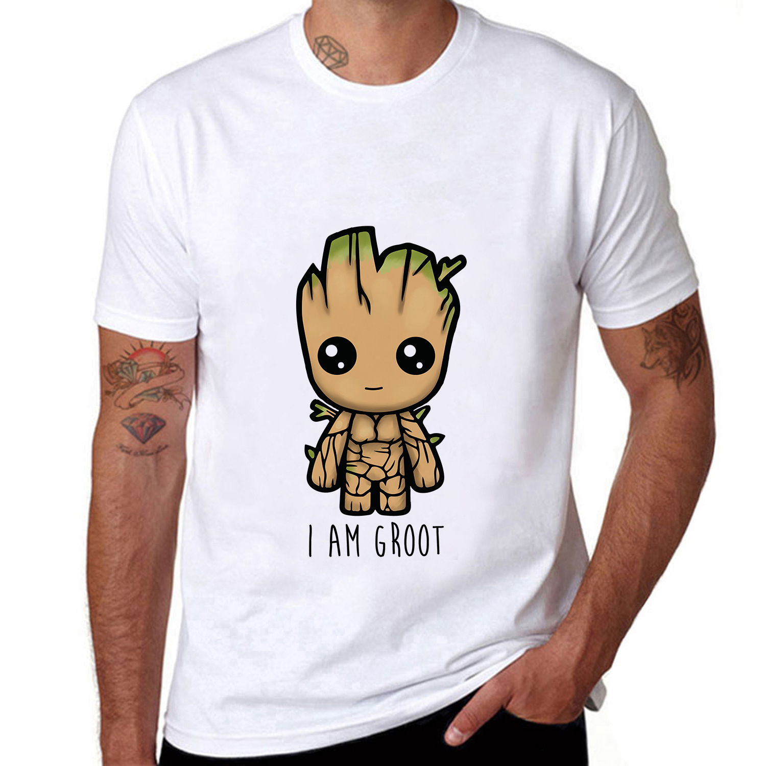 Guardians of the Galaxy Funny I AM GROOT Men s T-shirt Short Sleeve Tee Tops c1c92a7fb