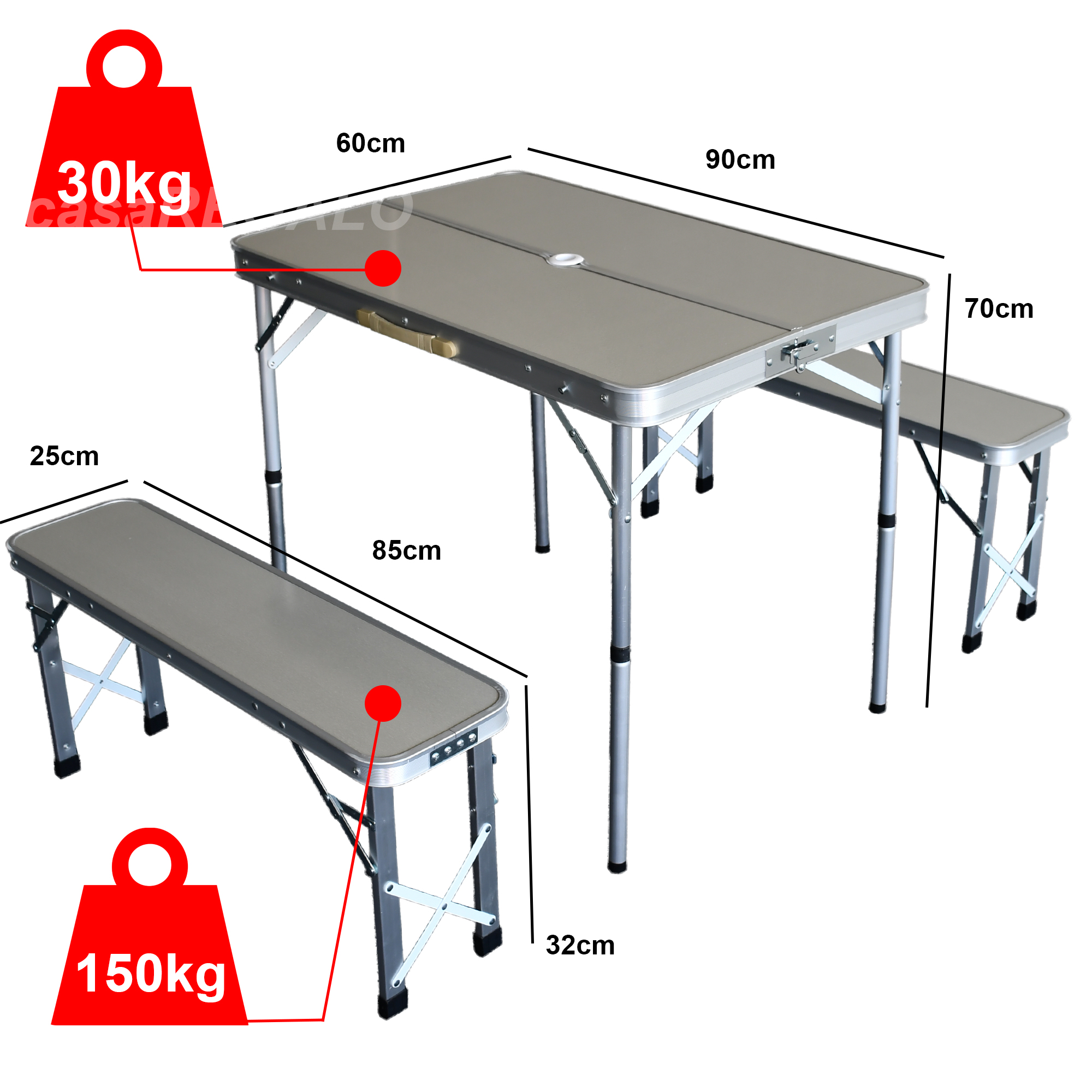 Outdoor Aluminium Folding Camping Table And Chairs Picnic