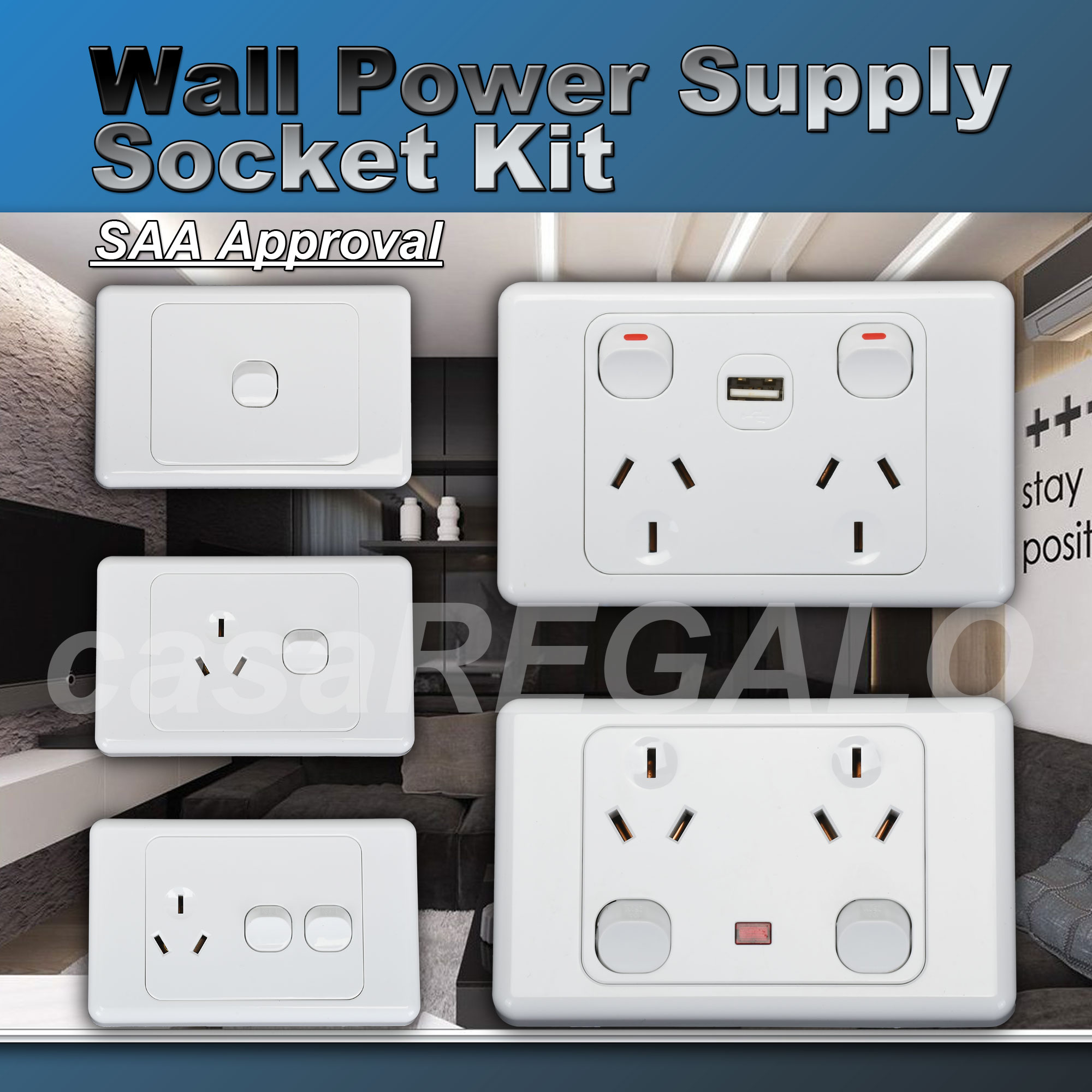 10A Amp 250V Light Switch & Power Point Wall Socket DUAL switch ...