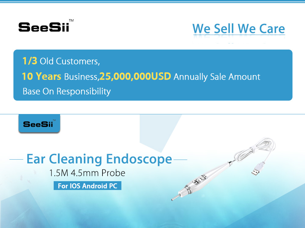 USB Ear Endoscope HD Visual Earpick with Pen Camera Otoscope Spoon ...