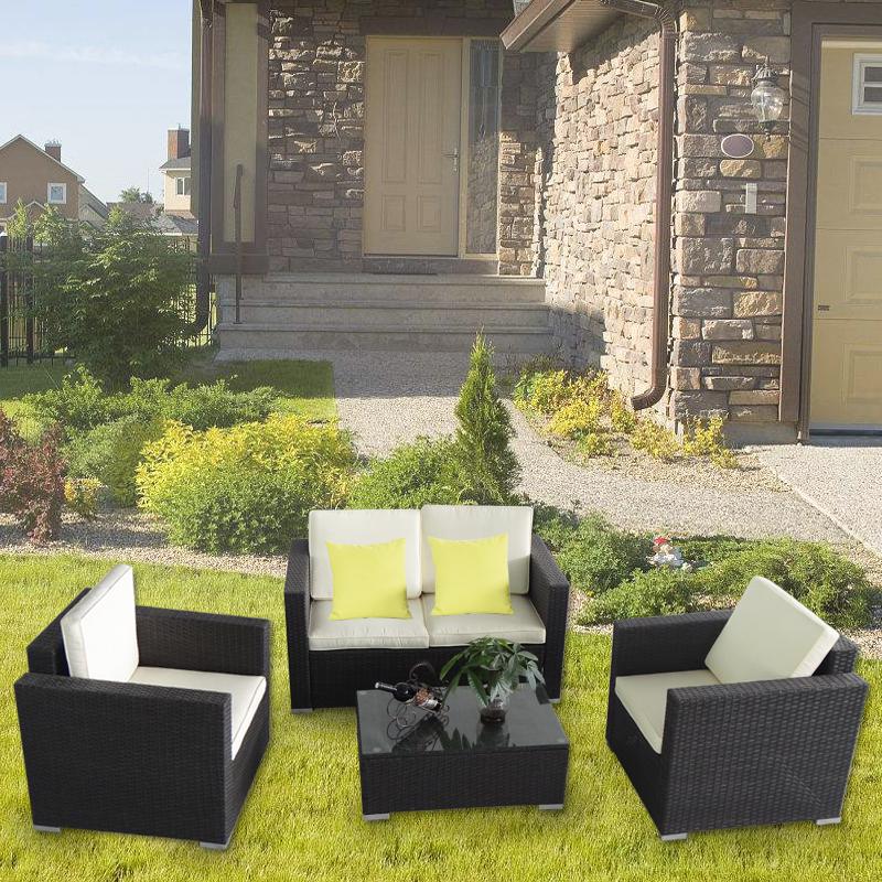 polyrattan sitzgruppe gartengarnitur gartenm bel lounge essgruppe tisch st hle ebay. Black Bedroom Furniture Sets. Home Design Ideas