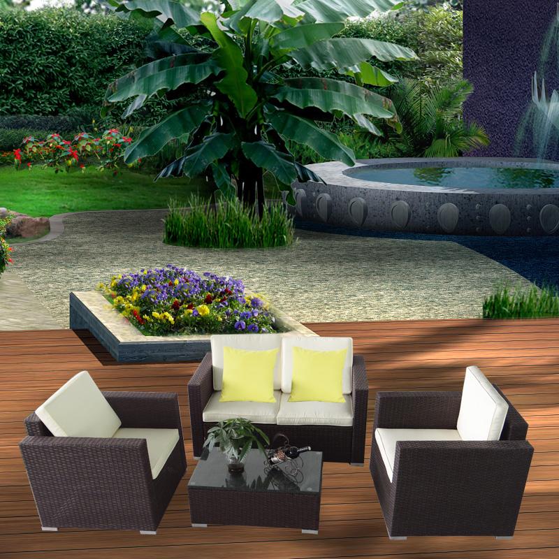 poly rattan gartengarnitur gartenm bel lounge sitzgruppe sofa essgruppe braun ebay. Black Bedroom Furniture Sets. Home Design Ideas