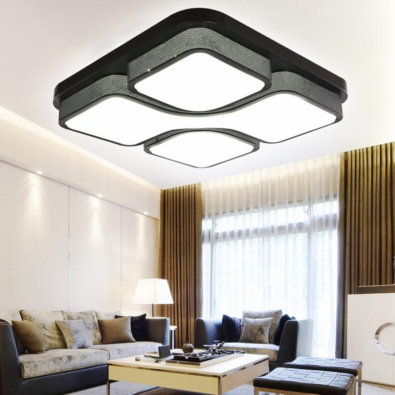 modern 48w kaltwei led deckenlampe deckenleuchte beleuchtung wohnzimmer schwarz ebay. Black Bedroom Furniture Sets. Home Design Ideas
