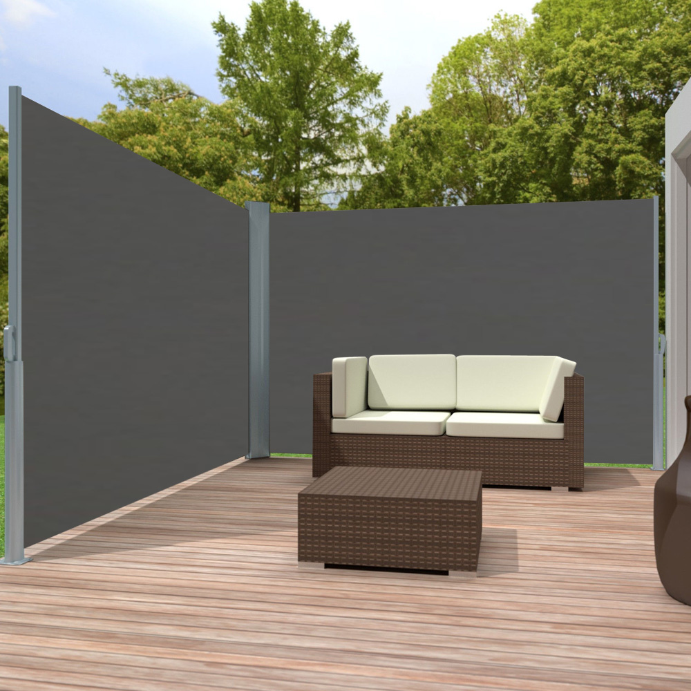 alu doppel seitenmarkise sonnenschutz sichtschutz windschutz terrasse markise ebay. Black Bedroom Furniture Sets. Home Design Ideas