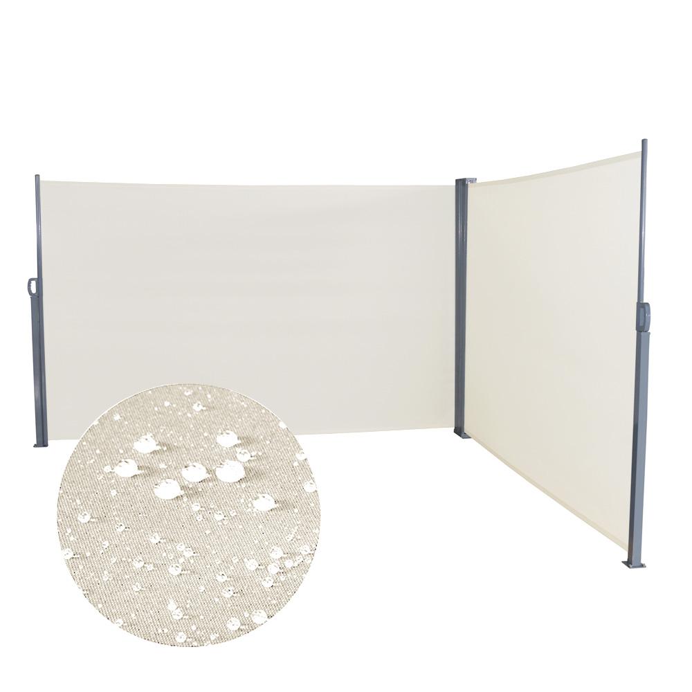 doppel seitenmarkise sichtschutz sonnenschutz polyester markise windschutz alu ebay. Black Bedroom Furniture Sets. Home Design Ideas