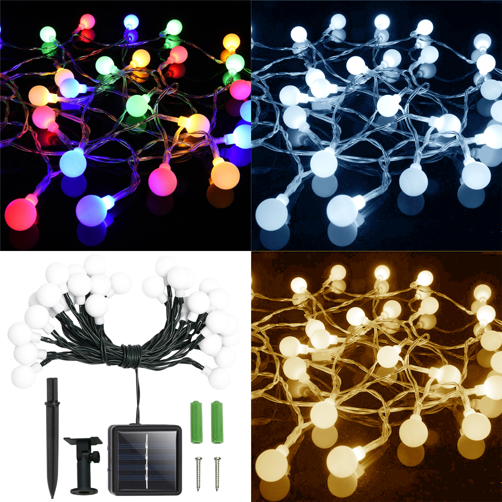 solar lichterkette kugeln 30 led licht weihnachten deko beleuchtung garten au en ebay. Black Bedroom Furniture Sets. Home Design Ideas
